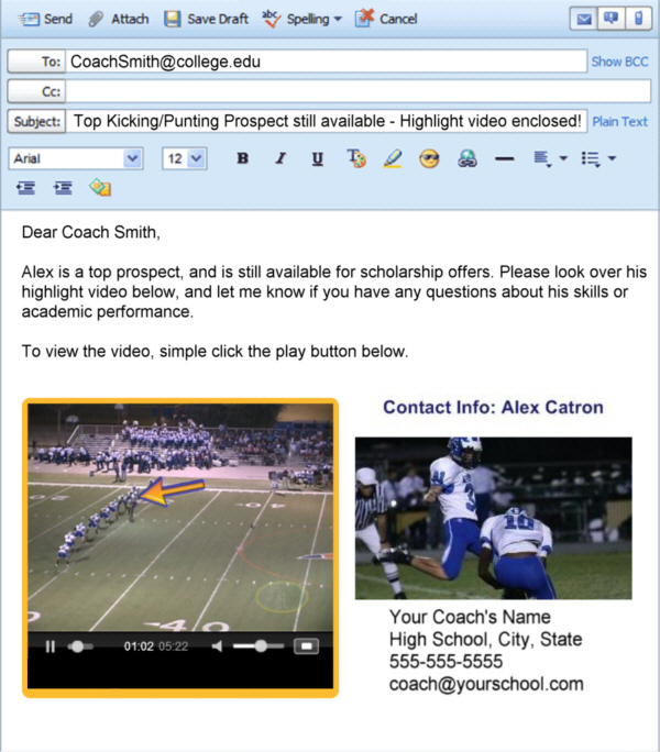 Video recruiting email example for college coaches